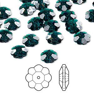 bead, swarovski crystals, crystal passions, emerald white patina, 8x3mm faceted marguerite lochrose flower (3700). sold per pkg of 12.
