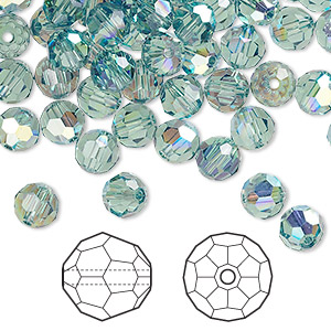 bead, swarovski crystals, crystal passions, erinite ab, 6mm faceted round (5000). sold per pkg of 144 (1 gross).