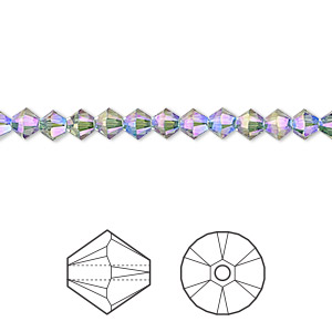 bead, swarovski crystals, crystal passions, erinite shimmer 2x, 4mm xilion bicone (5328). sold per pkg of 144 (1 gross).