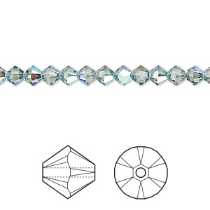 bead, swarovski crystals, crystal passions, erinite shimmer, 4mm xilion bicone (5328). sold per pkg of 48.