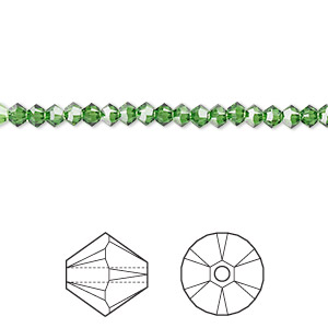 bead, swarovski crystals, crystal passions, fern green, 3mm xilion bicone (5328). sold per pkg of 48.
