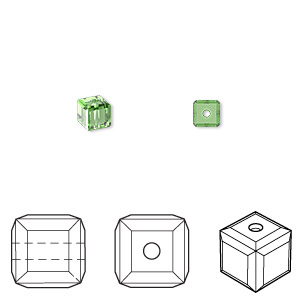 bead, swarovski crystals, crystal passions, fern green, 4x4mm faceted cube (5601). sold per pkg of 12.