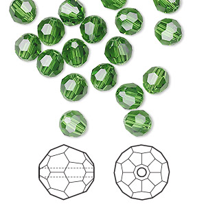 bead, swarovski crystals, crystal passions, fern green, 6mm faceted round (5000). sold per pkg of 144 (1 gross).