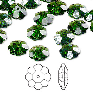 bead, swarovski crystals, crystal passions, fern green white patina, 10x3.5mm faceted marguerite lochrose flower (3700). sold per pkg of 144 (1 gross).