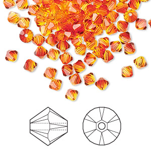 bead, swarovski crystals, crystal passions, fireopal, 4mm xilion bicone (5328). sold per pkg of 48.