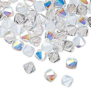 bead, swarovski crystals, crystal passions, frost, 6mm xilion bicone (5328). sold per pkg of 144 (1 gross).
