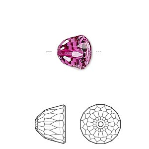 bead, swarovski crystals, crystal passions, fuchsia, 10x8mm faceted dome small (5542). sold individually.