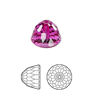 bead, swarovski crystals, crystal passions, fuchsia, 14x11mm faceted dome small (5542). sold individually.