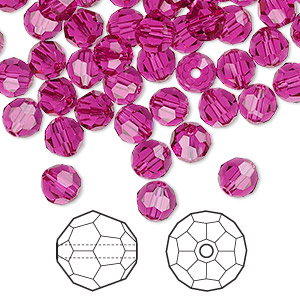 bead, swarovski crystals, crystal passions, fuchsia, 6mm faceted round (5000). sold per pkg of 144 (1 gross).