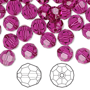 bead, swarovski crystals, crystal passions, fuchsia, 8mm faceted round (5000). sold per pkg of 144 (1 gross).