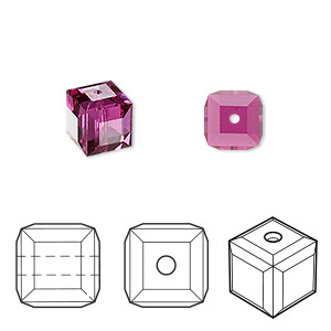 bead, swarovski crystals, crystal passions, fuchsia, 8x8mm faceted cube (5601). sold per pkg of 48.