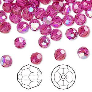 bead, swarovski crystals, crystal passions, fuchsia ab, 6mm faceted round (5000). sold per pkg of 144 (1 gross).