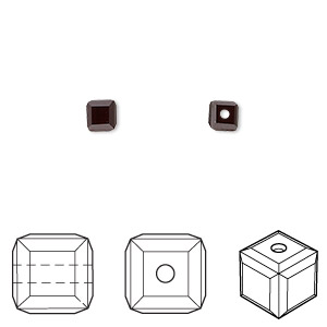 bead, swarovski crystals, crystal passions, garnet, 4x4mm faceted cube (5601). sold per pkg of 48.