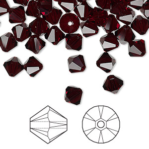 bead, swarovski crystals, crystal passions, garnet, 6mm xilion bicone (5328). sold per pkg of 144 (1 gross).