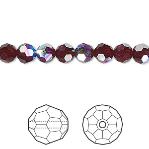 bead, swarovski crystals, crystal passions, garnet ab, 6mm faceted round (5000). sold per pkg of 12.