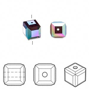 bead, swarovski crystals, crystal passions, garnet ab, 8x8mm faceted cube (5601). sold per pkg of 6.