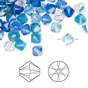 bead, swarovski crystals, crystal passions, glacier, 6mm xilion bicone (5328). sold per pkg of 144 (1 gross).