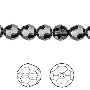 bead, swarovski crystals, crystal passions, graphite, 8mm faceted round (5000). sold per pkg of 12.