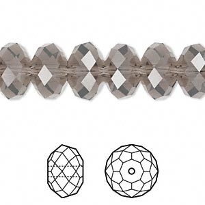 bead, swarovski crystals, crystal passions, greige, 12x8mm faceted rondelle (5040). sold per pkg of 144 (1 gross).