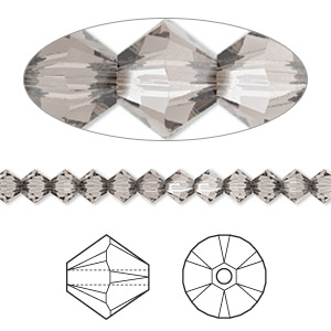 bead, swarovski crystals, crystal passions, greige, 4mm xilion bicone (5328). sold per pkg of 48.
