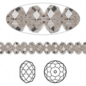 bead, swarovski crystals, crystal passions, greige, 6x4mm faceted rondelle (5040). sold per pkg of 360.