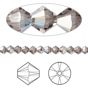 bead, swarovski crystals, crystal passions, greige ab, 4mm xilion bicone (5328). sold per pkg of 144 (1 gross).