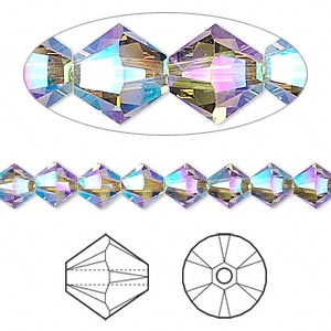 bead, swarovski crystals, crystal passions, greige ab2x, 6mm xilion bicone (5328). sold per pkg of 144 (1 gross).