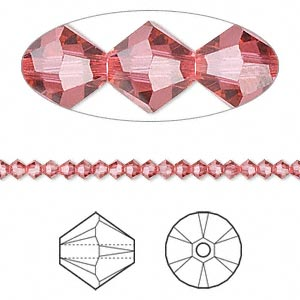 bead, swarovski crystals, crystal passions, indian pink, 3mm xilion bicone (5328). sold per pkg of 48.