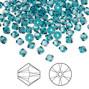 bead, swarovski crystals, crystal passions, indicolite, 4mm xilion bicone (5328). sold per pkg of 144 (1 gross).
