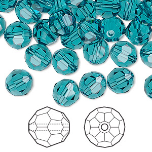 bead, swarovski crystals, crystal passions, indicolite, 8mm faceted round (5000). sold per pkg of 144 (1 gross).