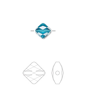 bead, swarovski crystals, crystal passions, indicolite, 8x8mm faceted mini rhombus (5054). sold per pkg of 2.