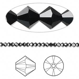 bead, swarovski crystals, crystal passions, jet, 2.5mm xilion bicone (5328). sold per pkg of 48.