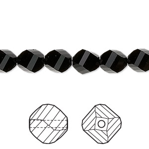 bead, swarovski crystals, crystal passions, jet, 8mm faceted helix (5020). sold per pkg of 144 (1 gross).
