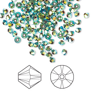 bead, swarovski crystals, crystal passions, jet ab2x, 3mm xilion bicone (5328). sold per pkg of 144 (1 gross).