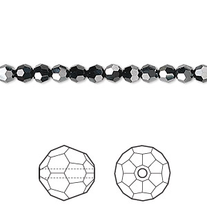 bead, swarovski crystals, crystal passions, jet hematite, 4mm faceted round (5000). sold per pkg of 12.