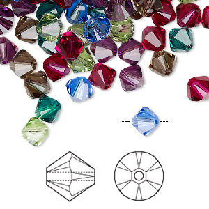 bead, swarovski crystals, crystal passions, jewel, 6mm xilion bicone (5328). sold per pkg of 144 (1 gross).