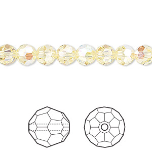 bead, swarovski crystals, crystal passions, jonquil ab, 6mm faceted round (5000). sold per pkg of 12.