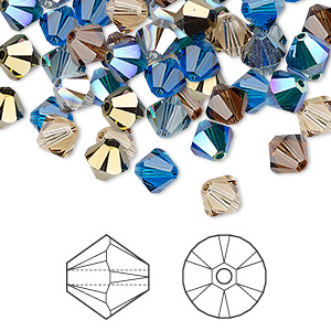 bead, swarovski crystals, crystal passions, lakeshore, 6mm xilion bicone (5328). sold per pkg of 24.