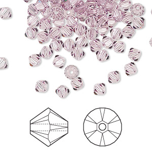 bead, swarovski crystals, crystal passions, light amethyst, 4mm xilion bicone (5328). sold per pkg of 48.
