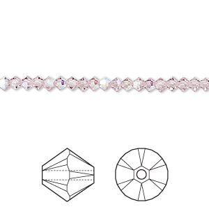 bead, swarovski crystals, crystal passions, light amethyst ab, 3mm xilion bicone (5328). sold per pkg of 48.