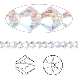 bead, swarovski crystals, crystal passions, light amethyst ab2x, 4mm xilion bicone (5328). sold per pkg of 48.
