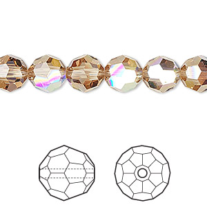 bead, swarovski crystals, crystal passions, light colorado topaz ab, 8mm faceted round (5000). sold per pkg of 12.