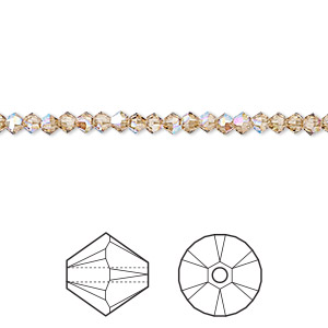 bead, swarovski crystals, crystal passions, light colorado topaz shimmer, 3mm xilion bicone (5328). sold per pkg of 144 (1 gross).
