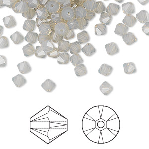 bead, swarovski crystals, crystal passions, light grey opal, 4mm xilion bicone (5328). sold per pkg of 48.