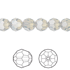 bead, swarovski crystals, crystal passions, light grey opal, 8mm faceted round (5000). sold per pkg of 12.
