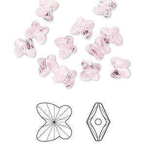 bead, swarovski crystals, crystal passions, light rose, 6x5mm faceted butterfly (5754). sold per pkg of 12.