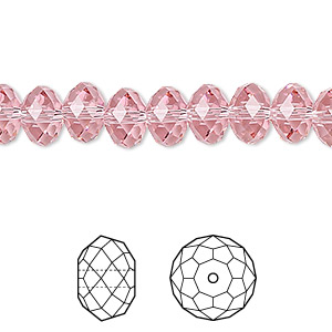 bead, swarovski crystals, crystal passions, light rose, 8x6mm faceted rondelle (5040). sold per pkg of 144 (1 gross).