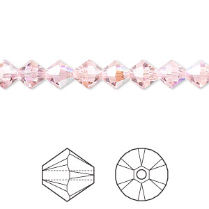 bead, swarovski crystals, crystal passions, light rose ab, 6mm xilion bicone (5328). sold per pkg of 24.