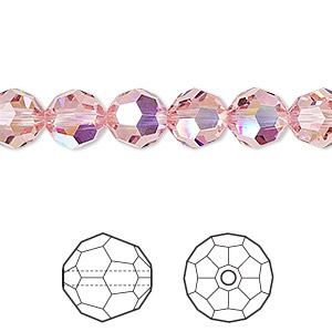 bead, swarovski crystals, crystal passions, light rose ab, 8mm faceted round (5000). sold per pkg of 12.