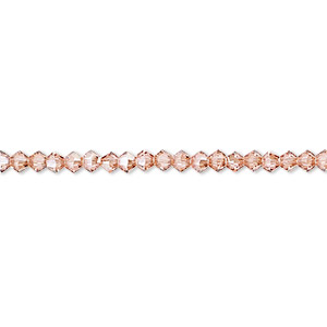 bead, swarovski crystals, crystal passions, light rose golden shadow, 3mm xilion bicone with 0.8mm hole (5328). sold per pkg of 48.